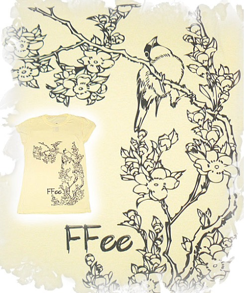 Bird on Tree FFee T Shirt In Yellow